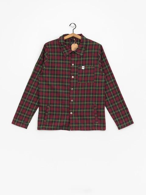 The Hive Flannel Overshirt Hemd (burgundy/green)
