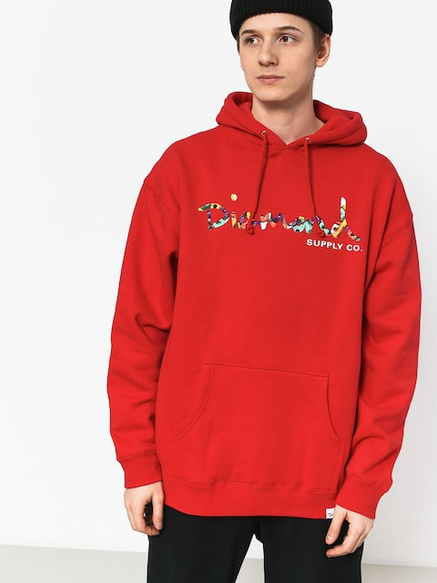 Diamond Supply Co. Og Script Fasten HD Hoodie (red)