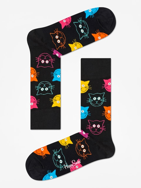 Happy Socks Animal Cat Socks (black/pink)