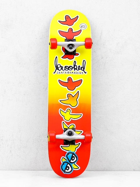 Krooked Birdical Fades Skateboard (red/yellow)