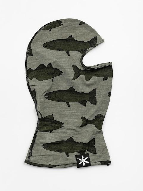 Airblaster Merino Ninja Face Neckwarmer (olive fish print)