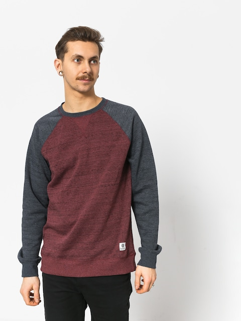 Element Meridian Block Crew Sweatshirt (oxblood red)