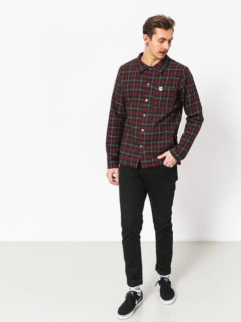 The Hive Flannel Overshirt Shirt (burgundy/green)
