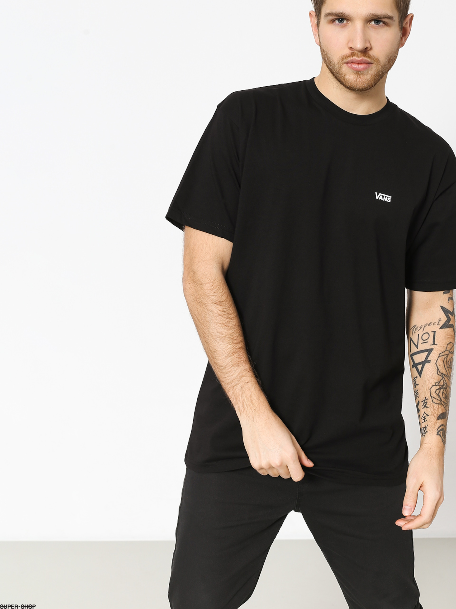 Vans Left Chest Logo T Shirt Black White