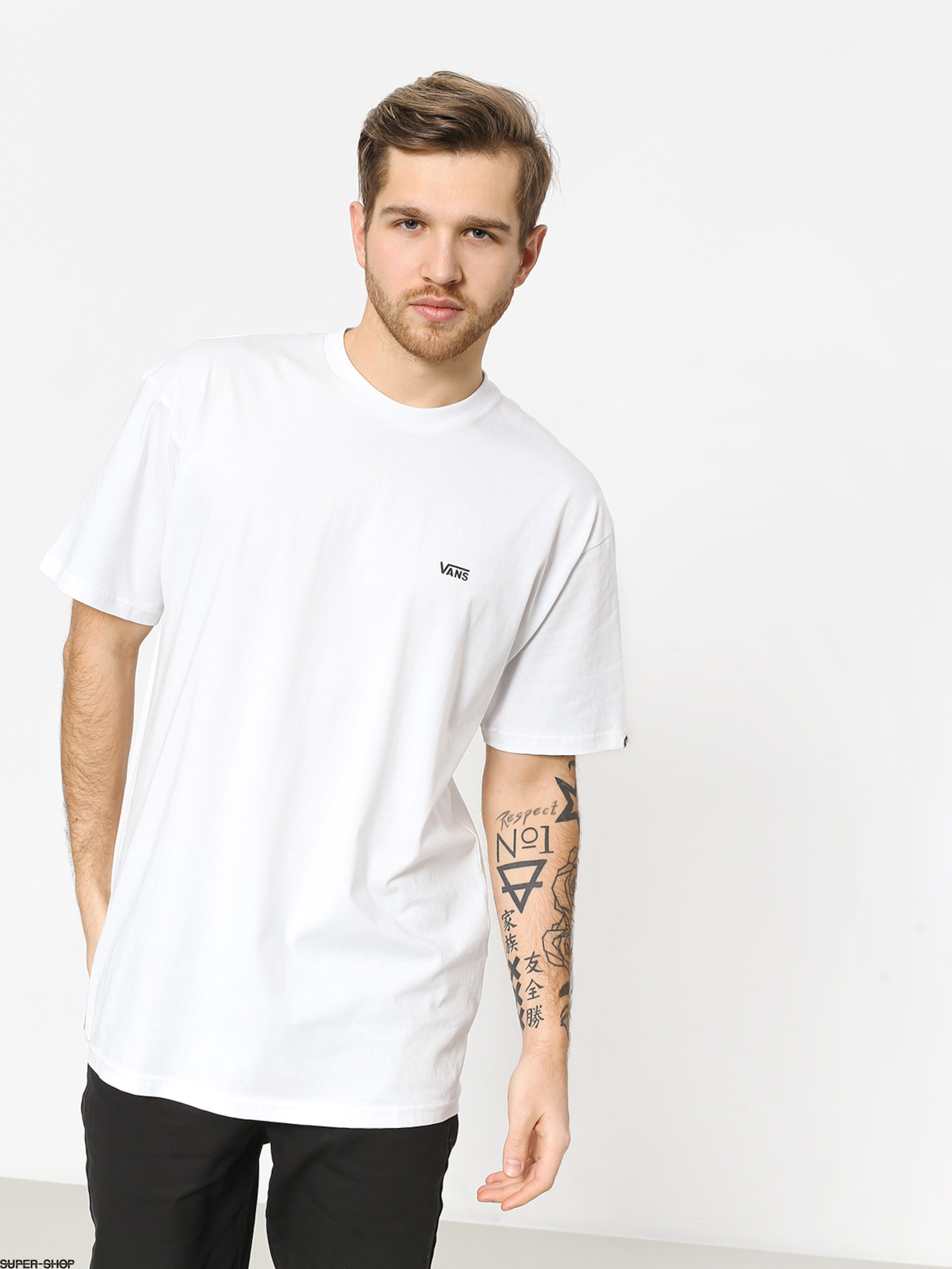 Vans Left Chest Logo T Shirt White Black
