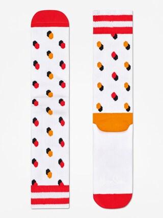 Happy Socks Athletic Shadow Dot Socks (white/orange/red)