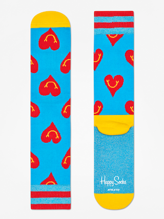 Happy Socks Athletic Smiley Heart Socks (blue/yellow/red)