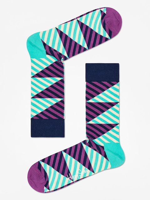 Happy Socks Diagonal Stripe Socks (mint/purple)