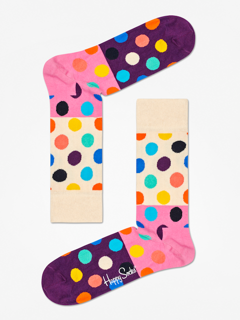 Happy Socks Big Dot Block Socks (sand/pink/purple)