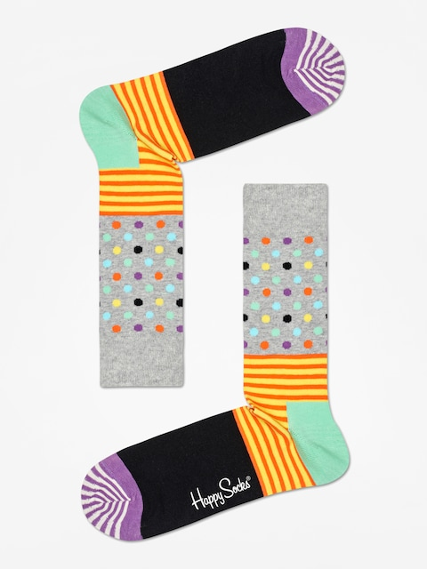 Happy Socks Stripe And Dots Socks (heather grey/black/multi)