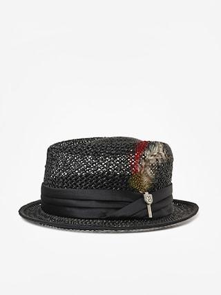 Brixton Stout Straw Pork Pie Hat (black)
