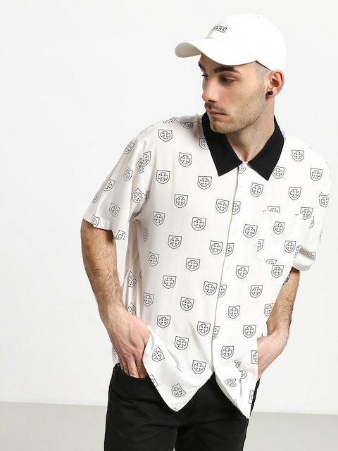 Brixton Trial Wvn Shirt (off white/black)