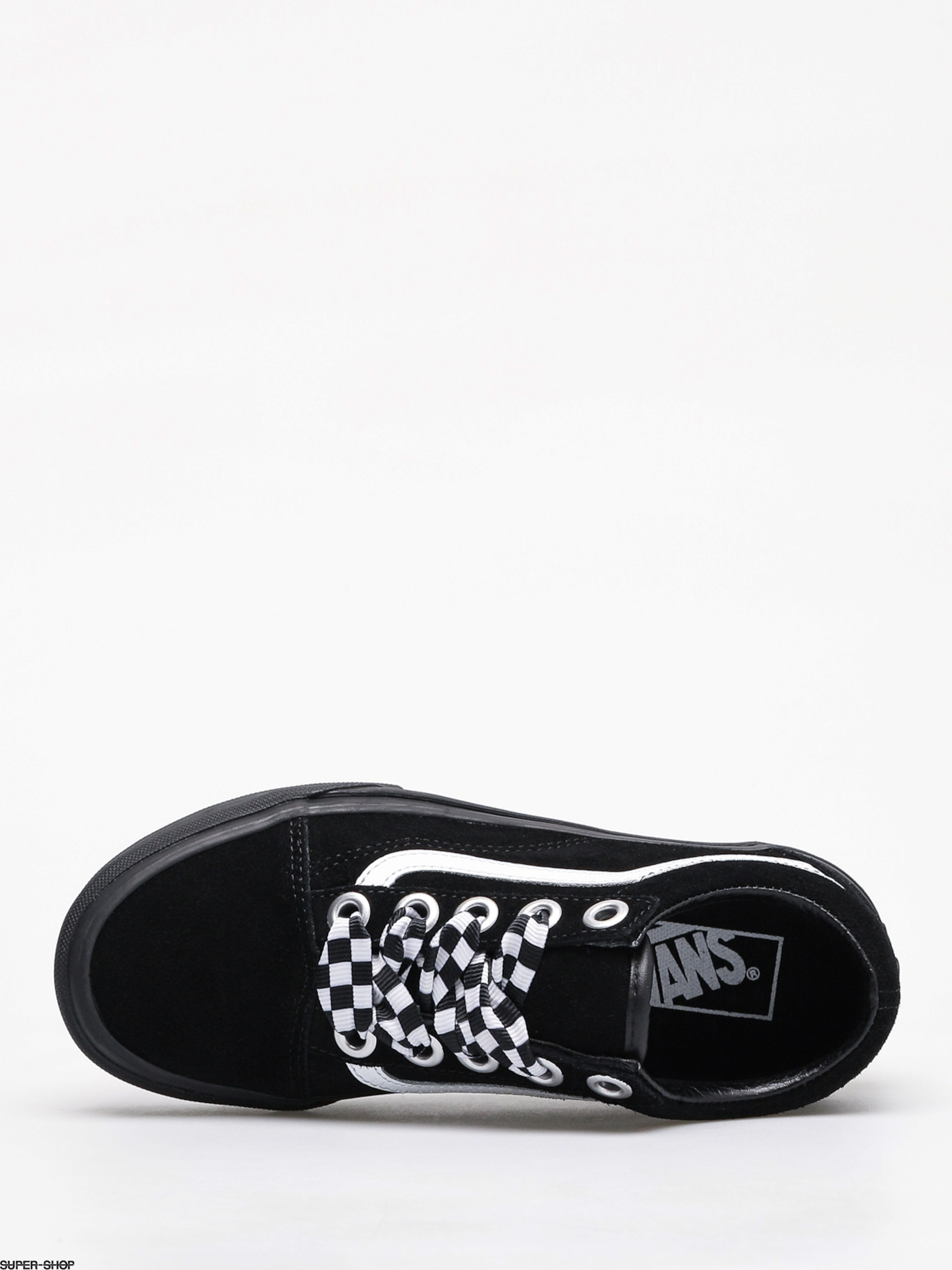 vans black & white old skool check lace trainers