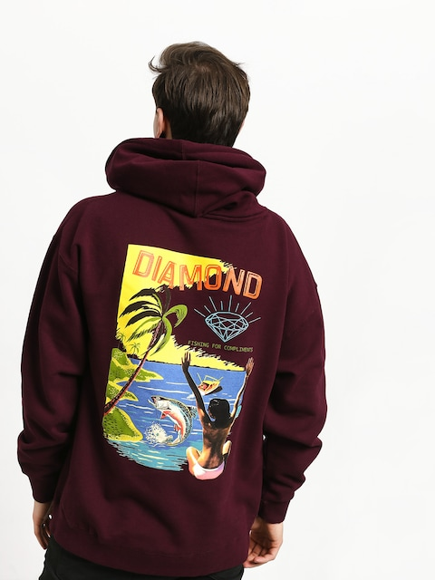 Diamond Supply Co. Fishing For Compliments HD Hoodie (burgundy)