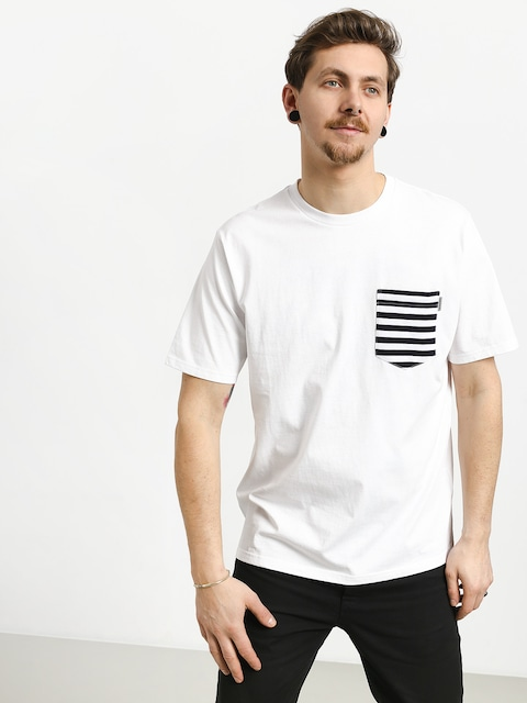 Carhartt WIP Contrast Pocket T-shirt (white/barkley stripe dark navy/white)