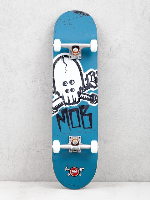 Mob Skateboards Skull Stencil Skateboard (teal/white)