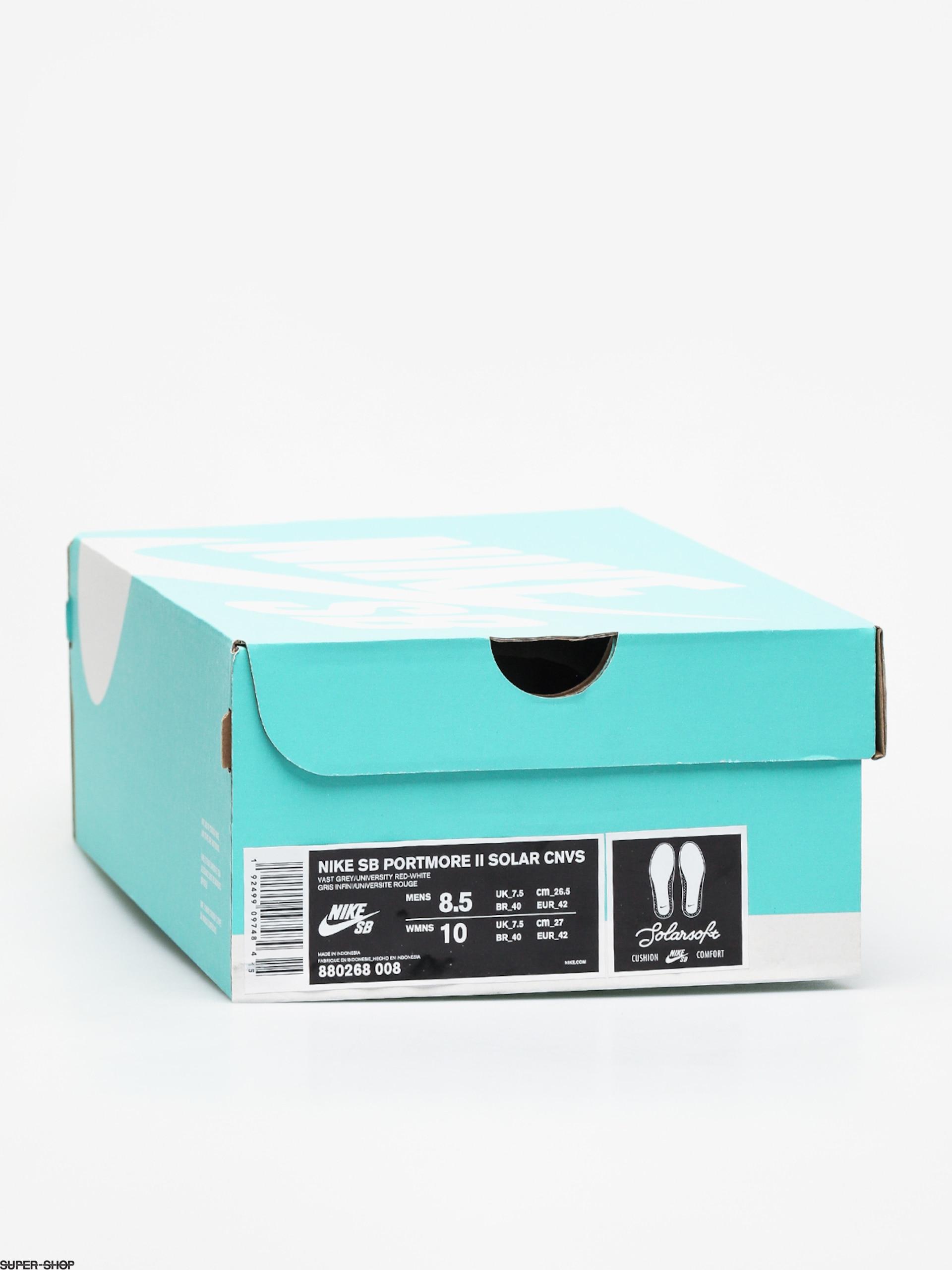 Nike SB Solarsoft Portmore II Canvas Shoes (vast grey/university red white black)