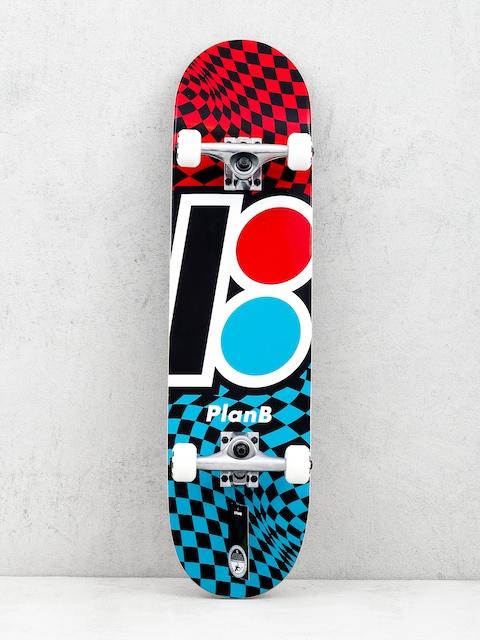 Plan B Team Checker Skateboard (red/blue/black)