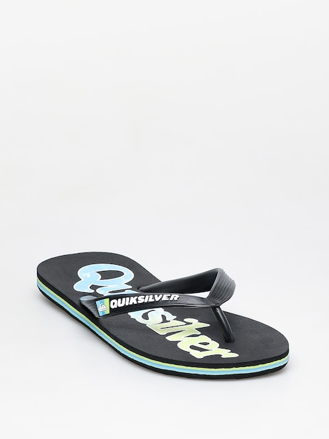 Quiksilver Molokai Wordmark Fineline Flip-flops (black/green/blue)