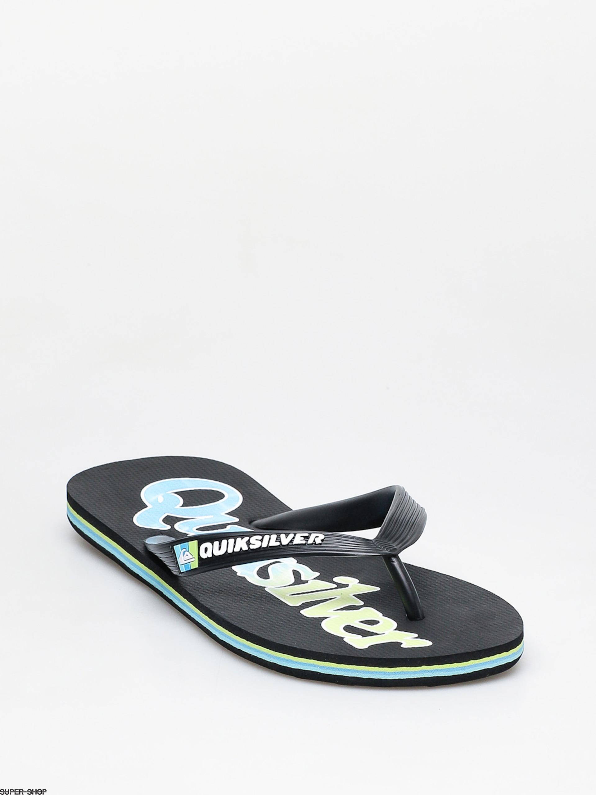 Blue BNWT Black Quiksilver NEW Molokai Wordmark Fineline Flip Flop Green