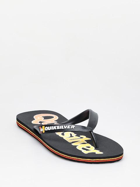 Quiksilver Molokai Wordmark Fineline Flip-flops (black/black/yellow)