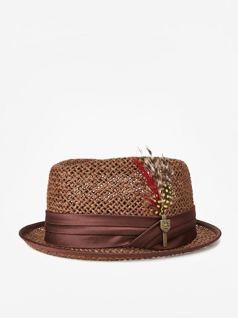 Brixton Stout Straw Pork Pie Hat (brown)