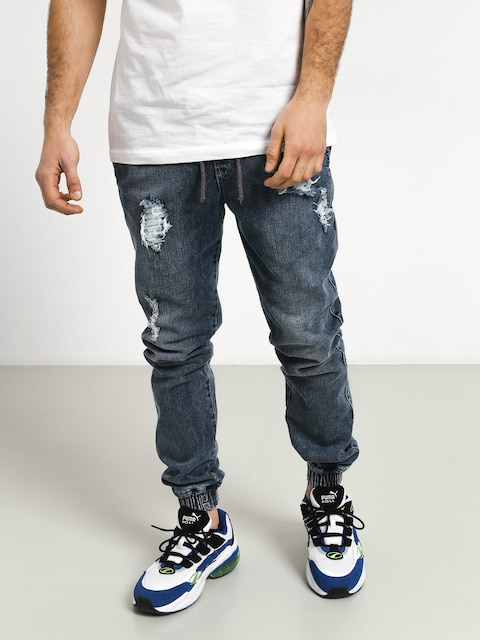 Diamante Wear Rm Jeans Jogger Pants (ripped blue jeans)