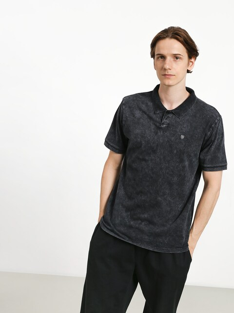 Brixton Wales Polo t-shirt (black acid wash)