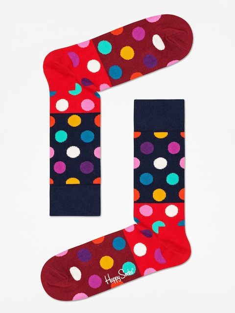 Happy Socks Big Dot Block Socks (navy/red/maroon)