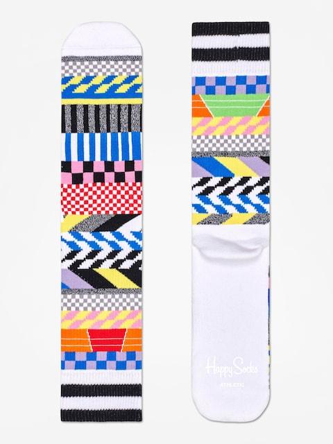 Happy Socks Athletic Checked Stripe Socks (white/multi)