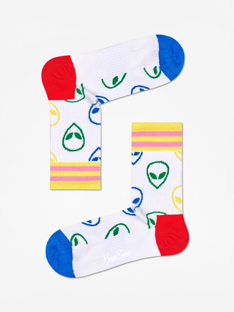 Happy Socks Athletic Alien Mid High Socks (white)