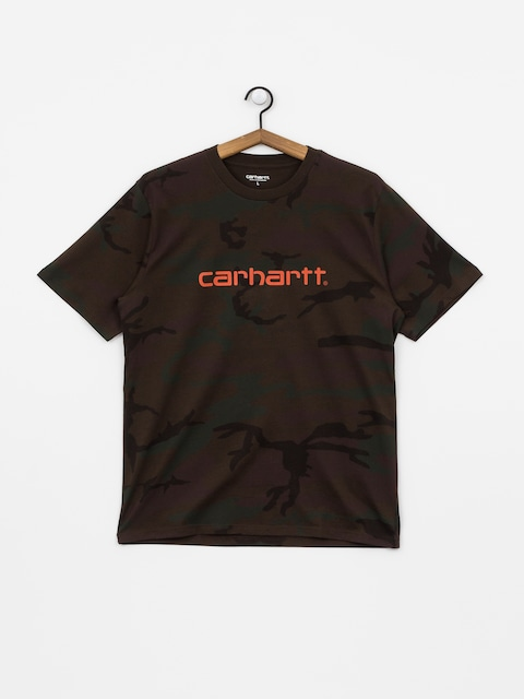 Carhartt WIP Script T-shirt (camo evergreen/brick orange)