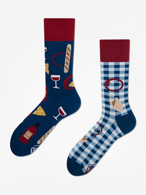 Many Mornings Bonjour France Socks (navy/maroon)