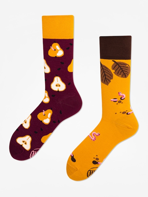 Many Mornings Pear Pair Socks (maroon/mustard)