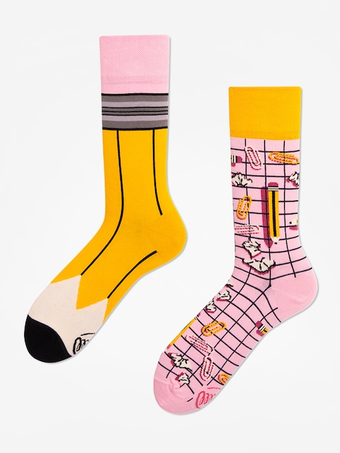Many Mornings Paperwork Socks (yellow/pink)