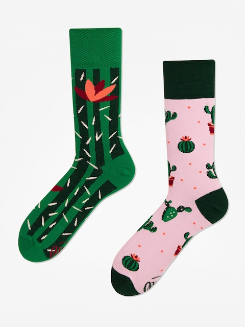 Many Mornings Summer Cactus Socks (green/pink)