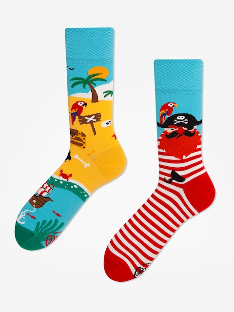 Many Mornings Pirate Island Socks (blue/red)