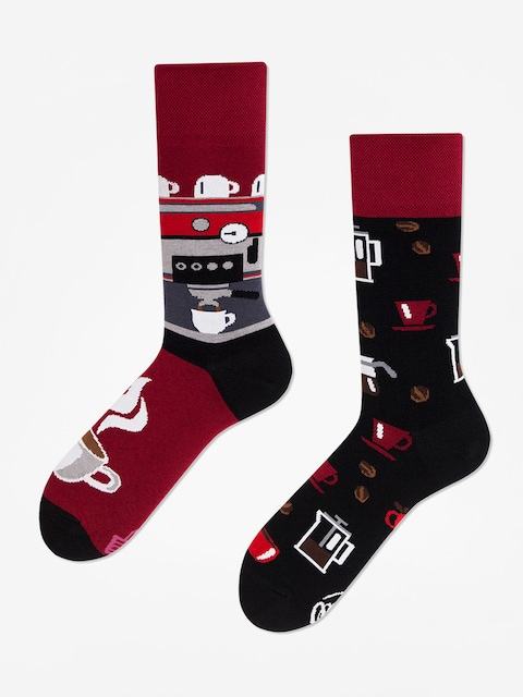 Many Mornings Dark Espresso Socks (burgundy/black)