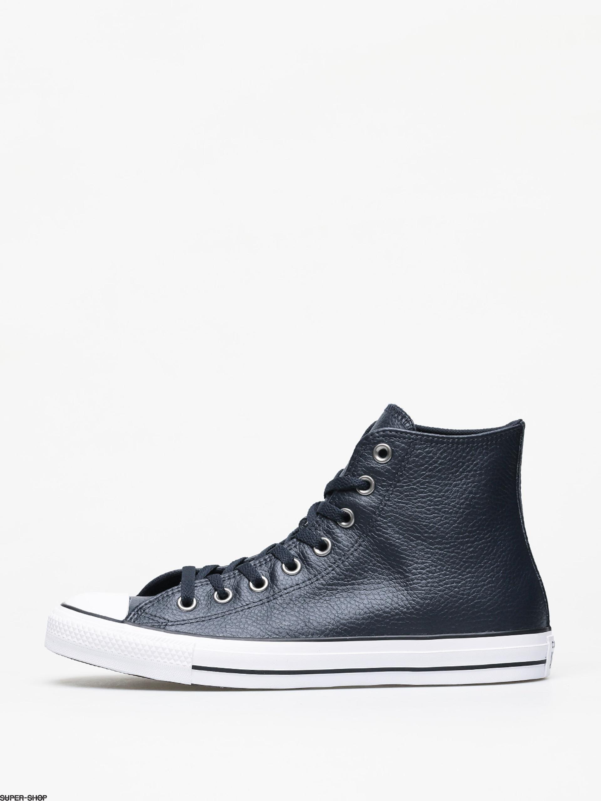 Buena voluntad Es mas que Extranjero  Converse Chuck Taylor All Star Hi Leather Chucks (dark obsidian/white/black)