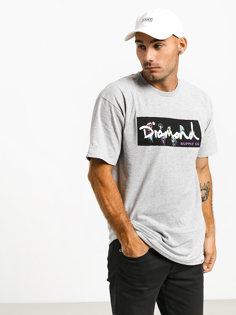 Diamond Supply Co. Color Box Logo T-shirt (heather grey)