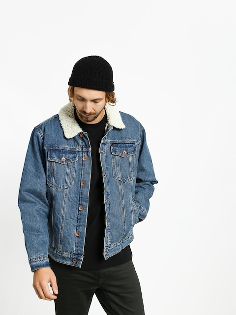 Brixton Cable Sherpa Denim Jacket (worn indigo)