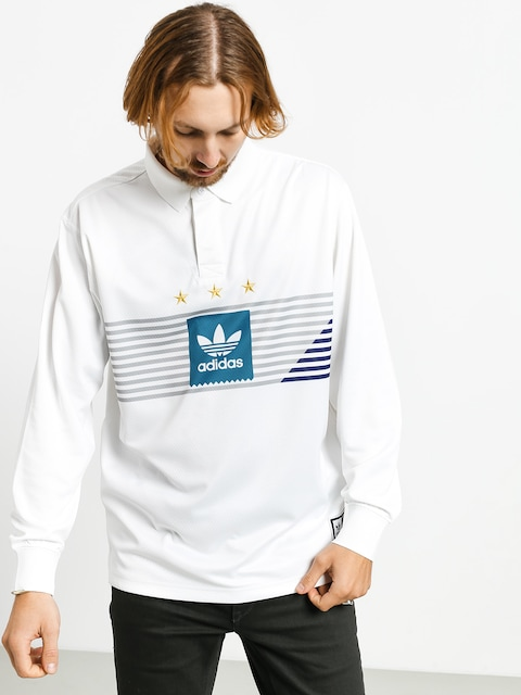 adidas Elvtd Ls Rugby Polo t-shirt (white/grey two f17/active teal/collegiate purple)