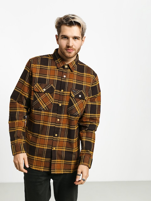 Brixton Bowery Flannel Ls Shirt (brown/gold)