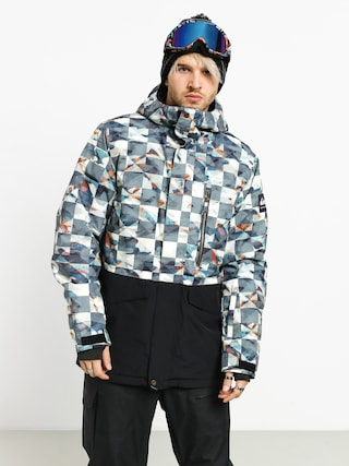 Quiksilver Mission Printed Block Snowboard jacket (barn red ongrid)
