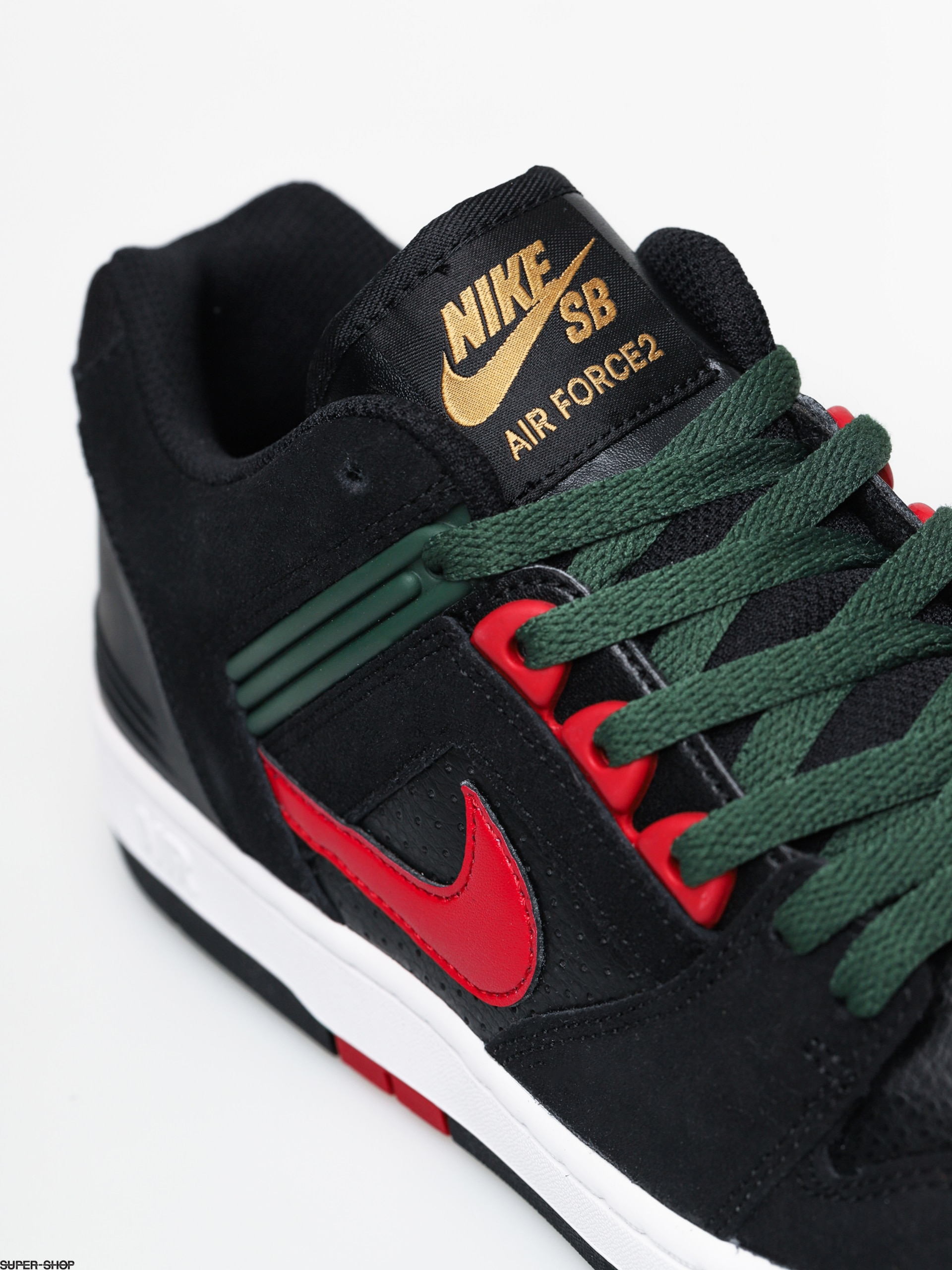 Misión Firmar primer ministro  Nike SB Air Force II Low Shoes (black/gym red deep forest)