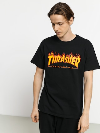 Thrasher T-shirt Flame Logo (black)