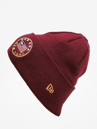 New Era Flagged Cuff Knit Beanie (maroon)
