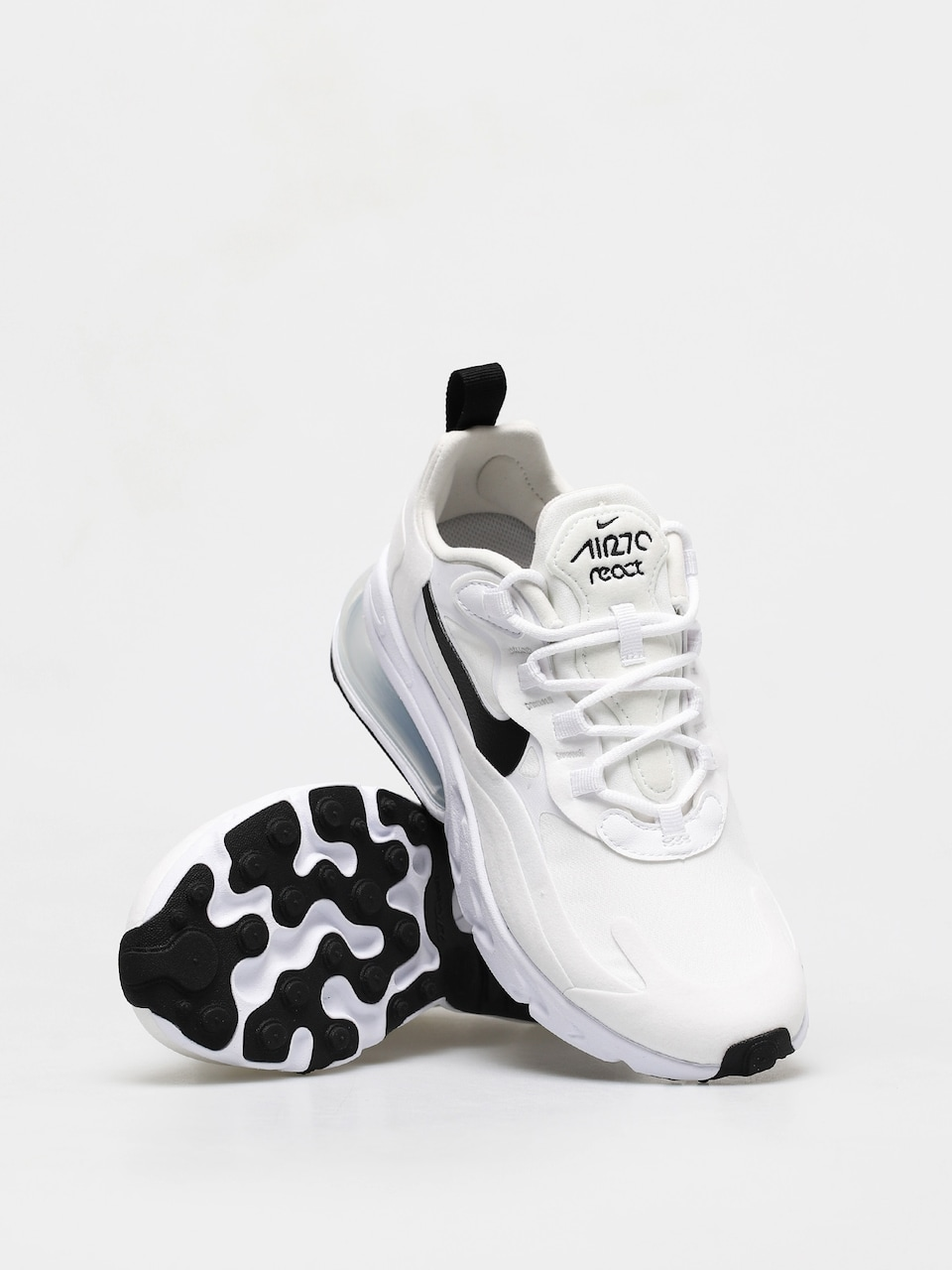 air max 270 react white black metallic silver