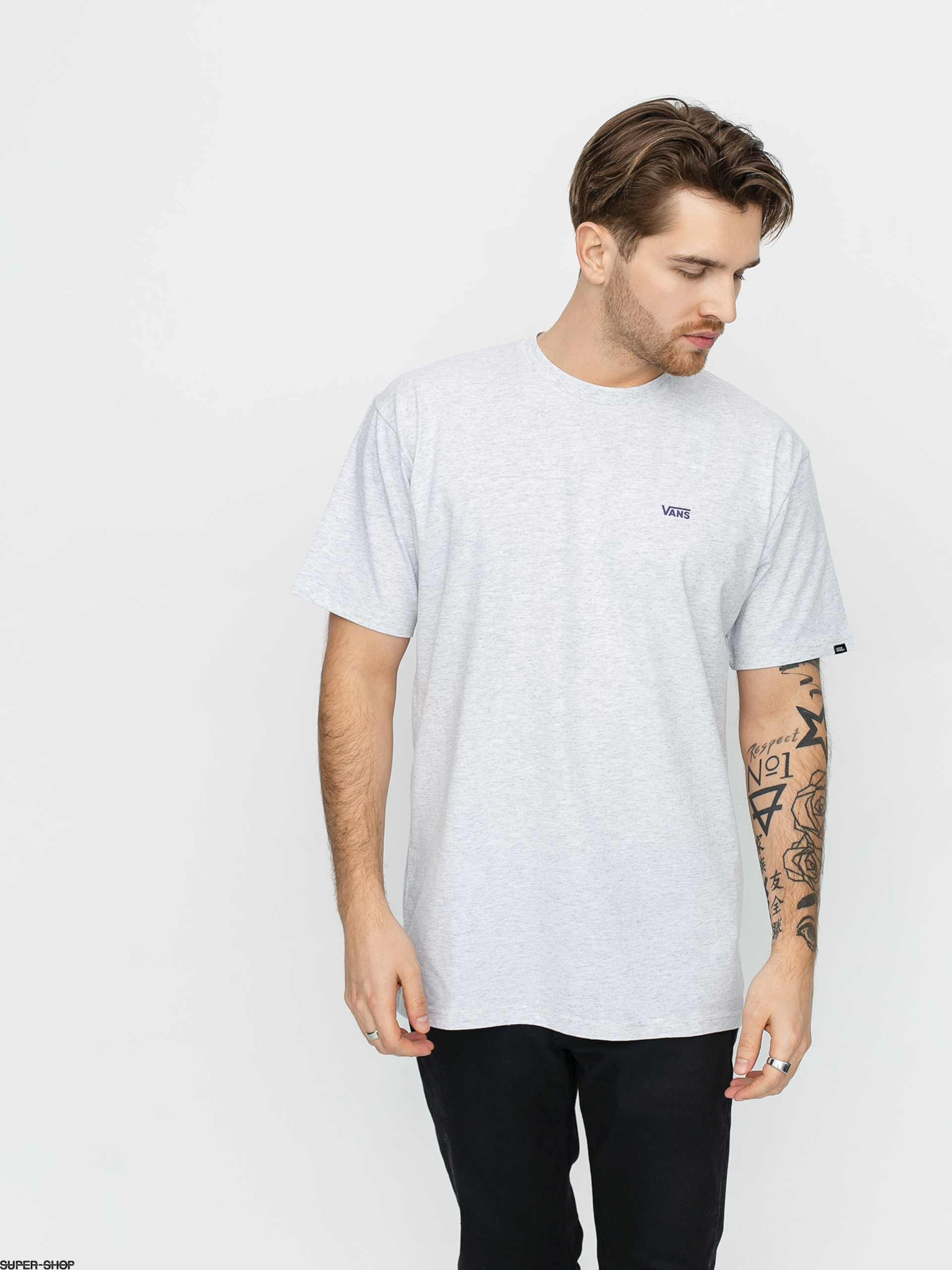 Vans Left Chest Logo T Shirt Ash Heather Heliotrope