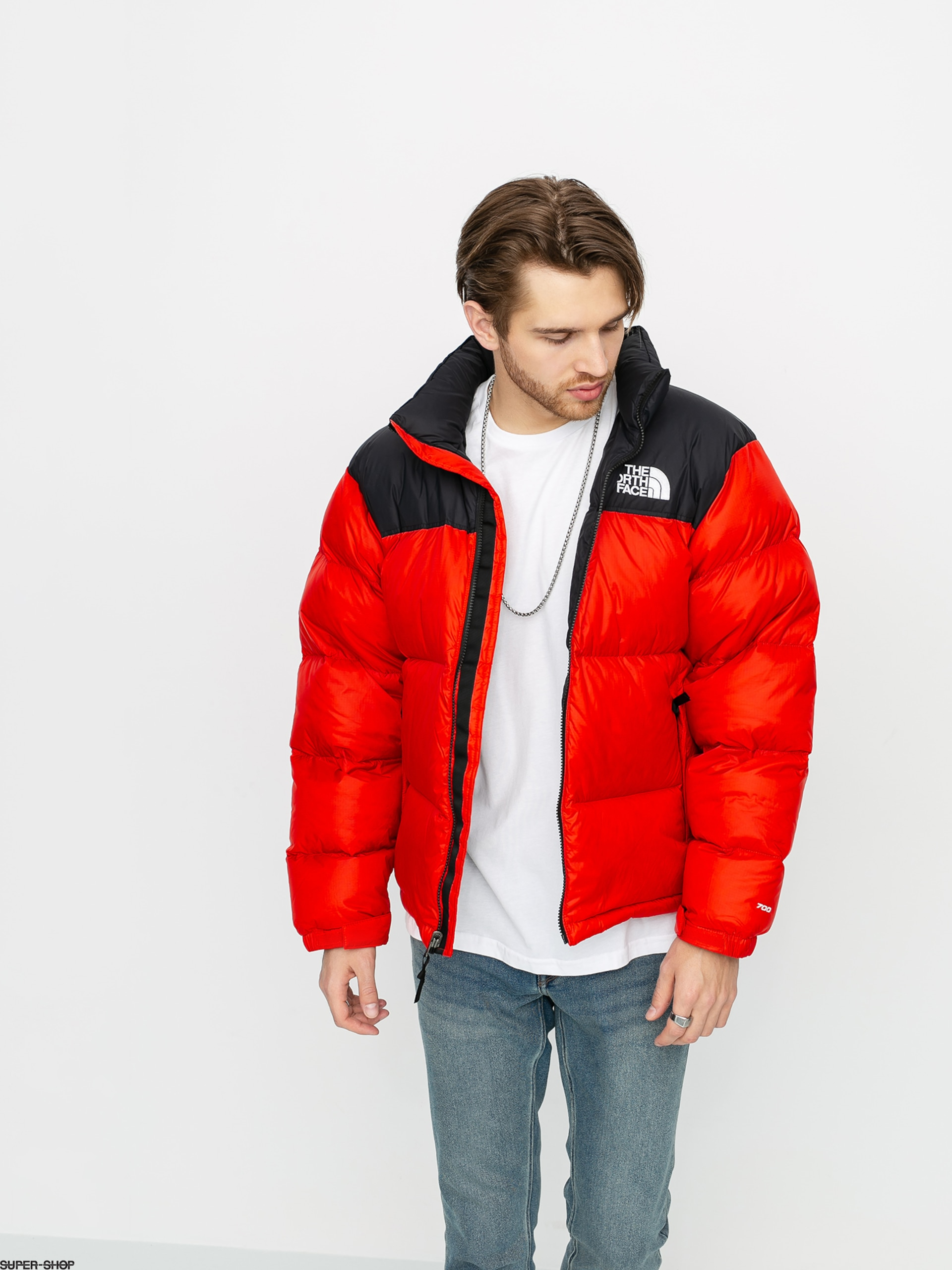 red north face jacket with hood